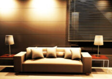 Modern  interior design of living room with a  sofa and the lamps
